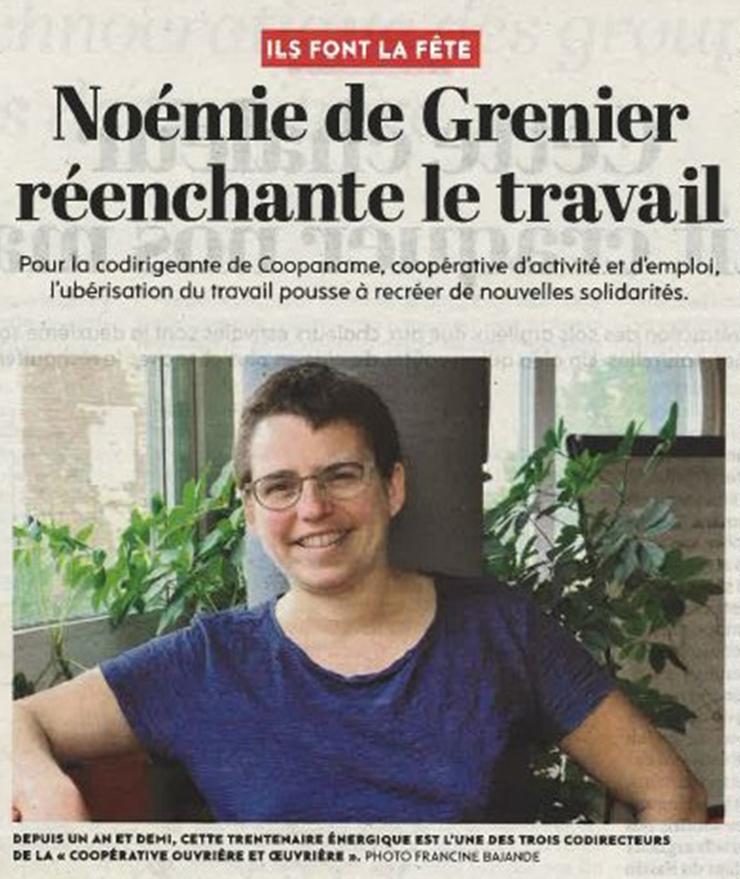 L'Huma - 2/8/2016 - Noémie de Grenier réenchante le travail